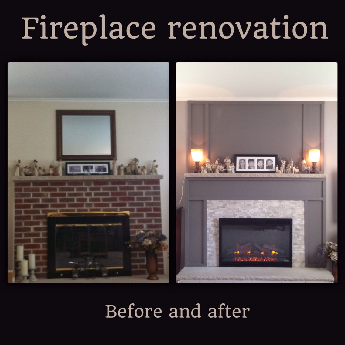 Brick fireplace renovation. Cover old brick with drywall ...