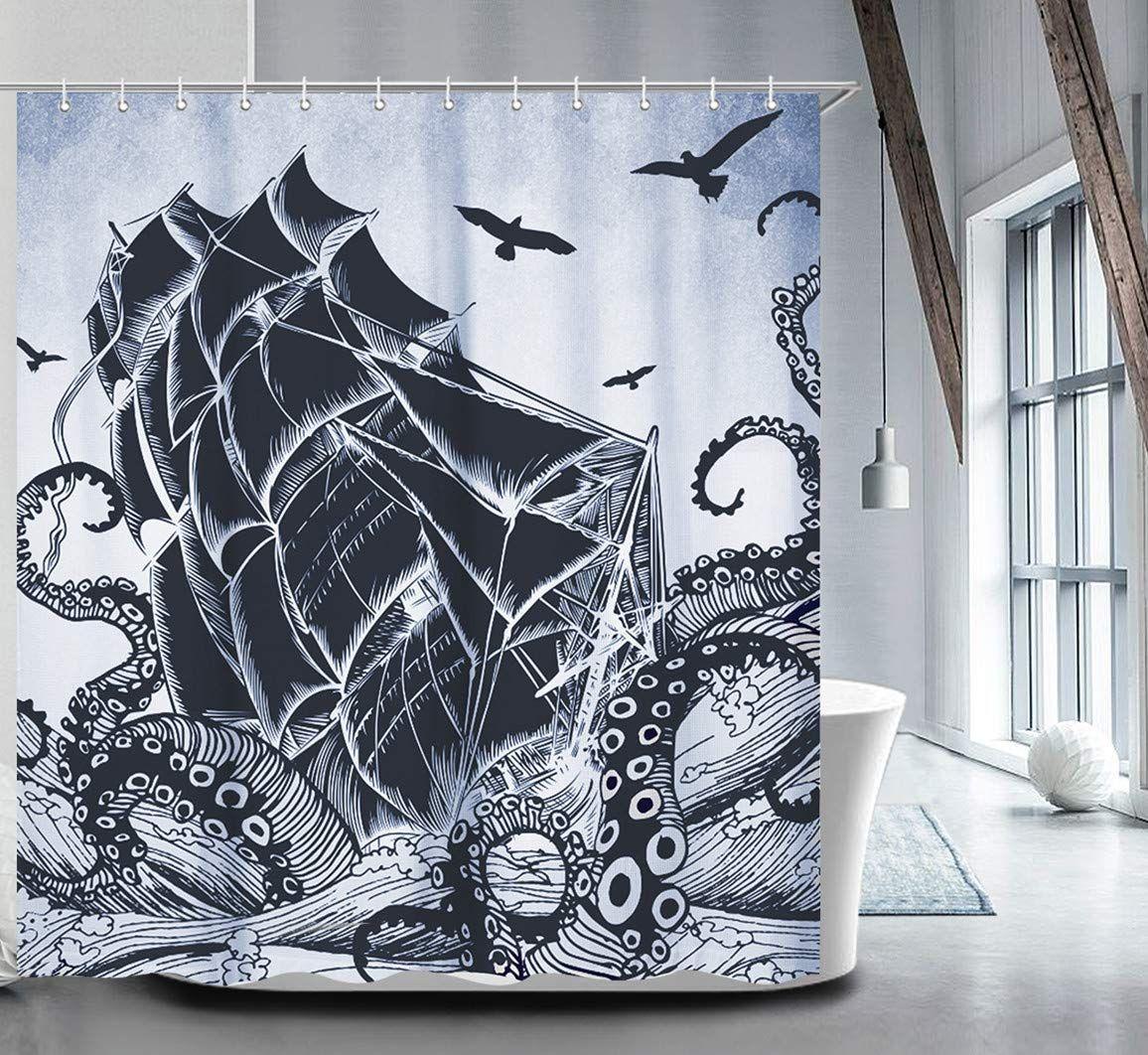 Livilan Nautical Shower Curtain Set With 12 Hooks Kraken Bathroom