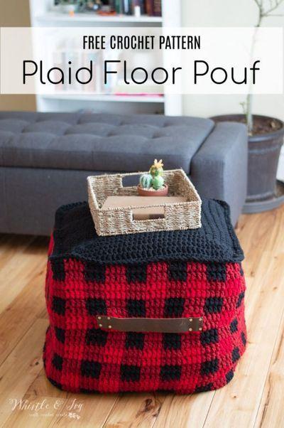 Pouf de sol à carreaux au crochet – Patron de crochet gratuit – Whistle and Ivy   – Crochet Home Decor + Ideas