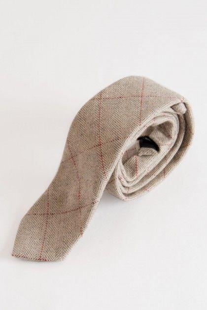 9b3ede9a52d7 Dion Cream Check Tweed Tie   Luxury Ties   Wool tie, Tweed, Herringbone