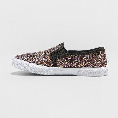 Brand New! Cat /& Jack Black Girls Vanity Slip on Glitter Sneakers