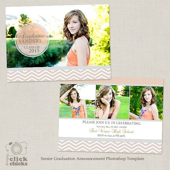 Senior Graduation Announcement Template For By Clickchicksdesigns