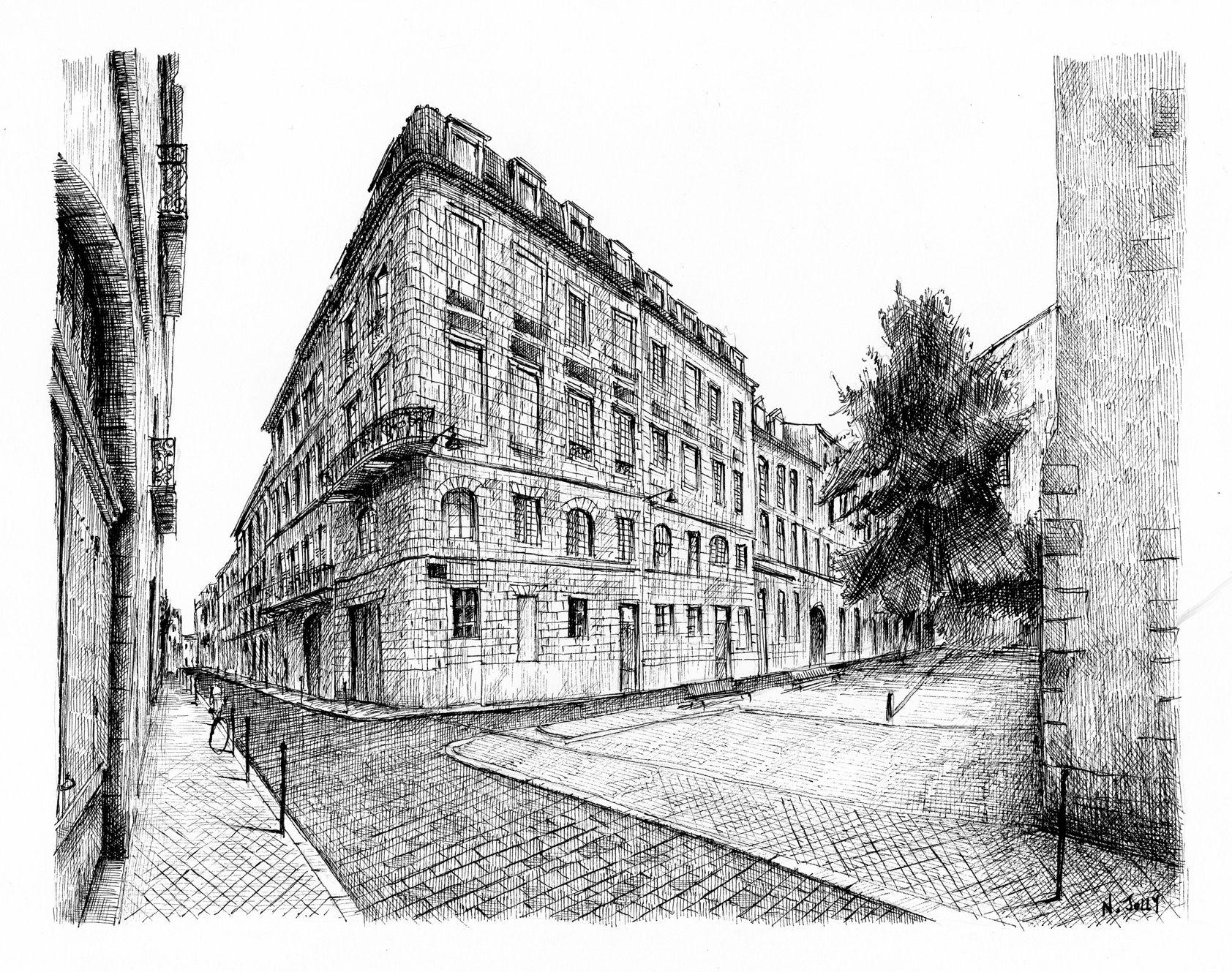 Lithography signed print bordeaux building france for Architecture noir et blanc