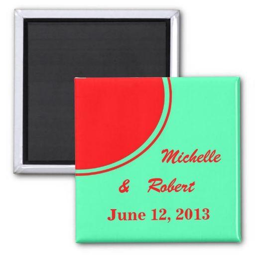 Bright Orange Green Modern Wedding Magnets