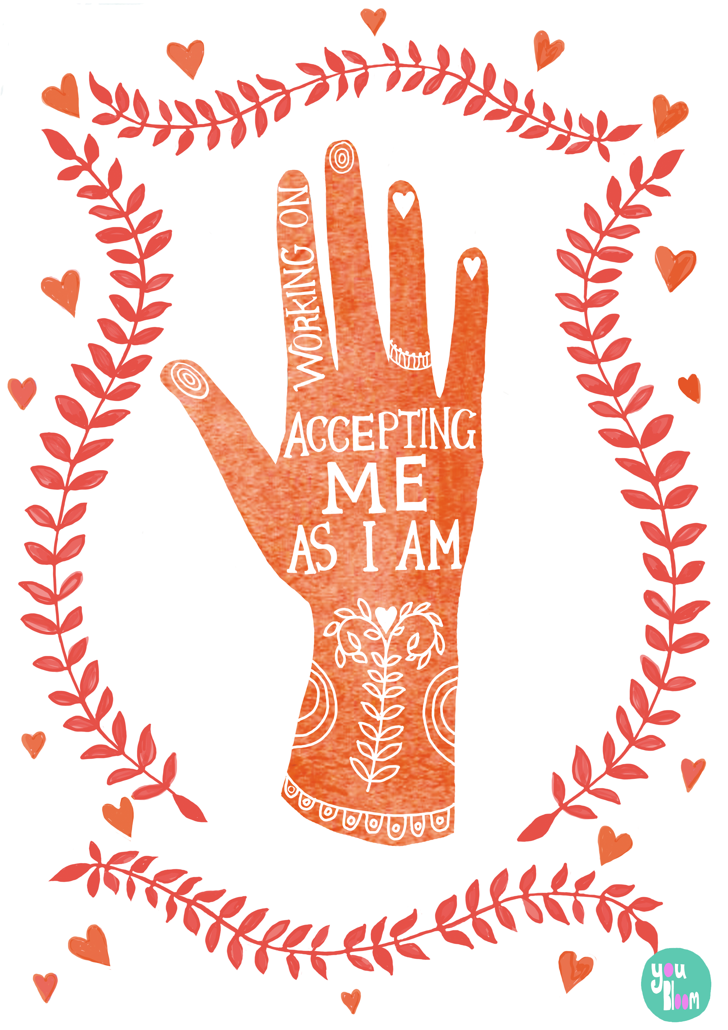 This folk art style poster promotes the importance of self acceptance which is i...