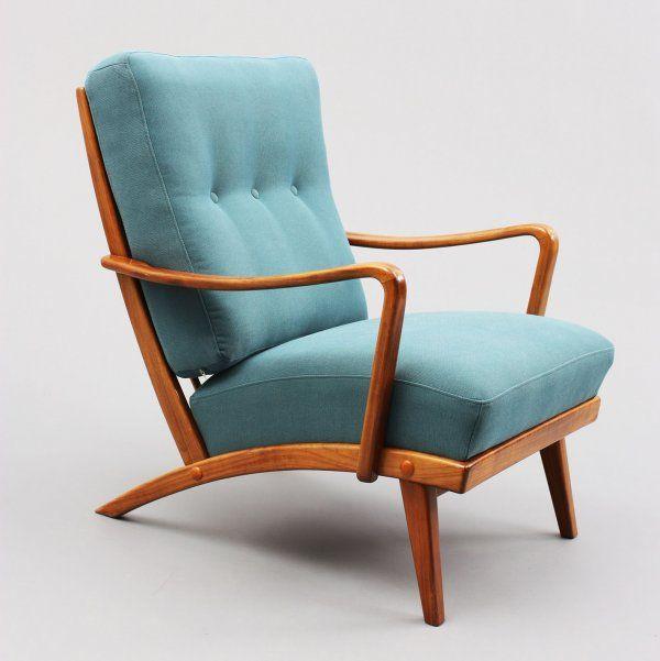 sessel formsch ner 50er jahre sessel nussbaum neu bezogen petrolblau nr 4744 a karlsruhe. Black Bedroom Furniture Sets. Home Design Ideas