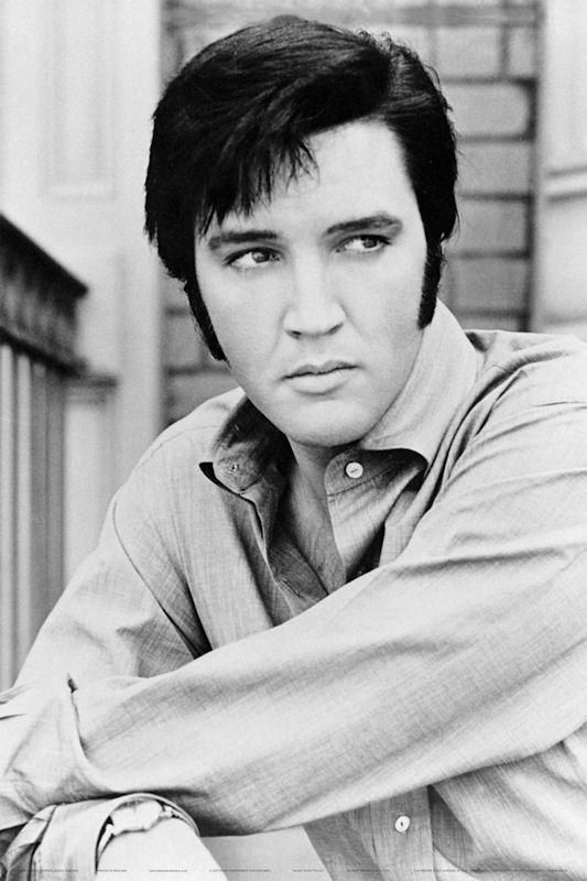 Black and white elvis presley poster featuring a great close up photo