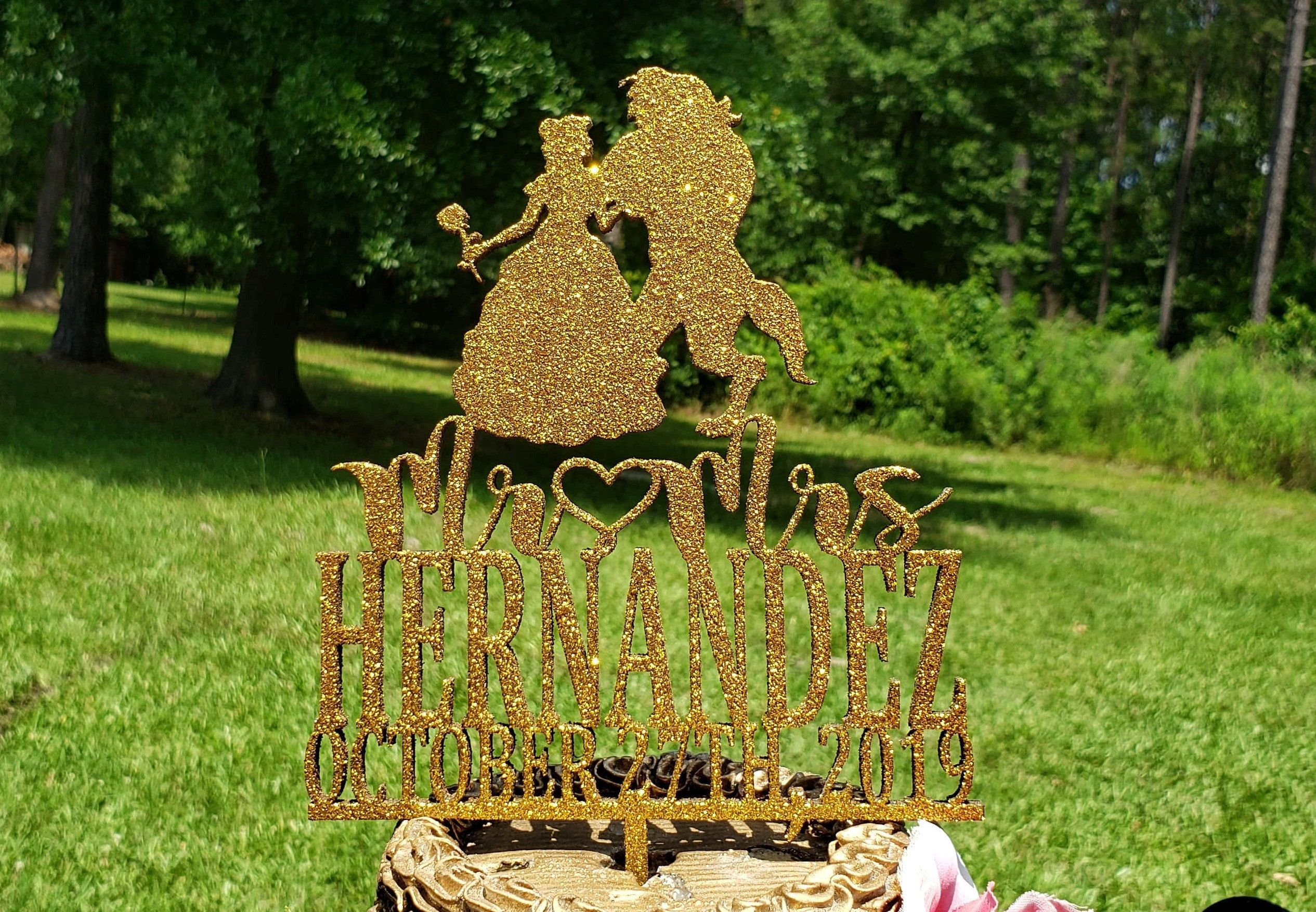 Fairy Tale Wedding Cake Topper, Mr and Mrs Wedding Cake topper , Personalized wedding Cake topper, Beauty and the Beast Wedding Cake Topper #personalizedwedding