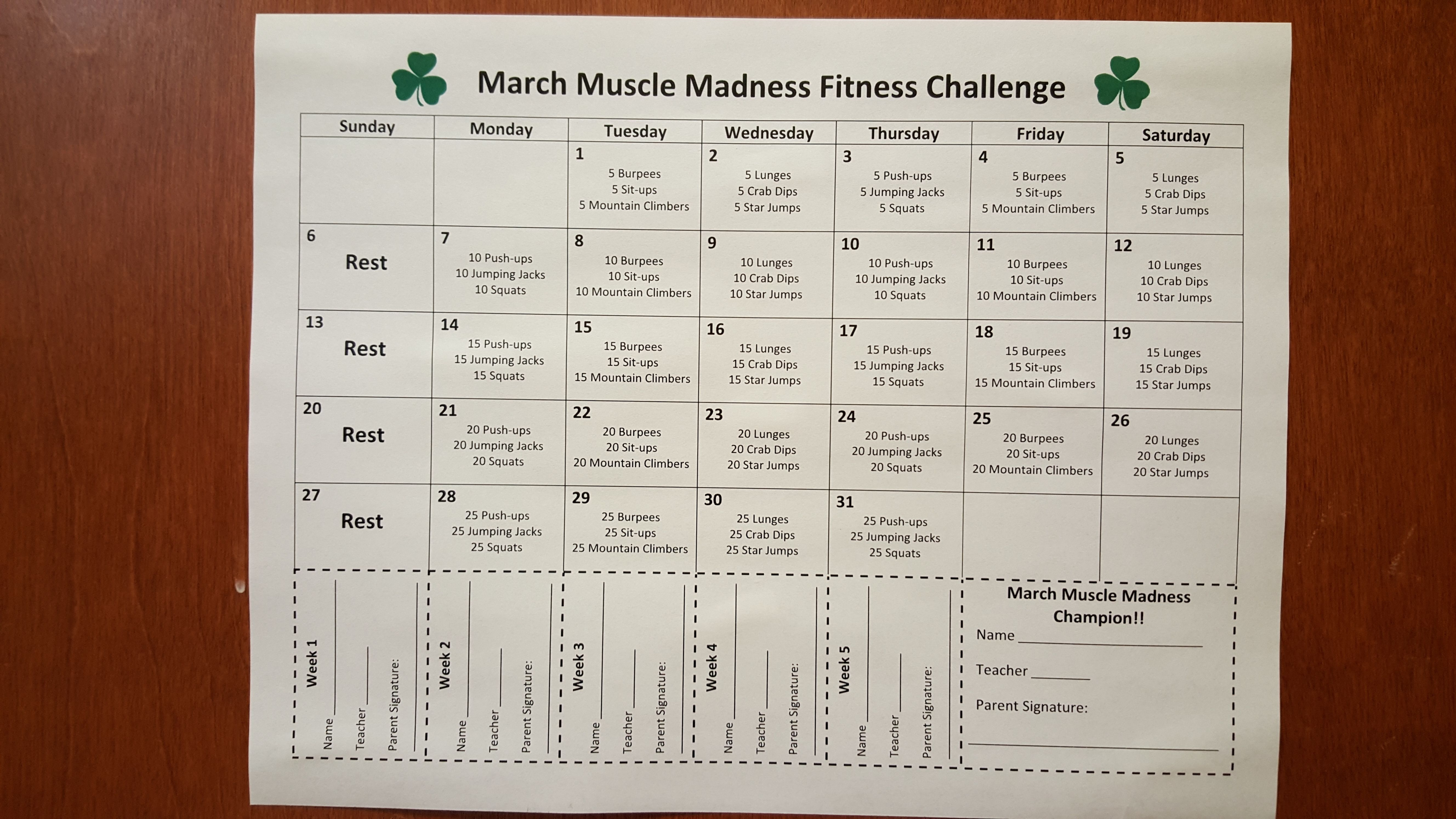 March Muscle Madness Fitness Challenge Getting Students And Families Exercising At H Physical Activities For Kids Physical Education Games Physical Education