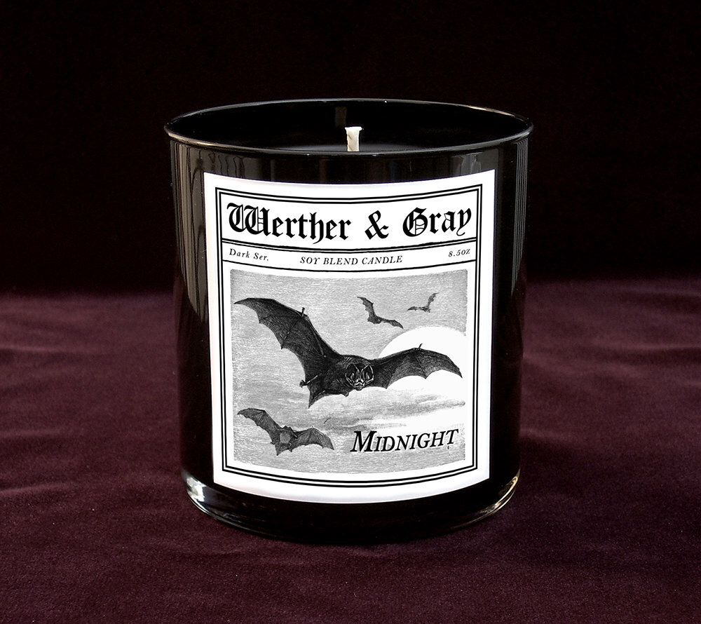 MIDNIGHT Candle, 9oz Black Tumbler, Clove Scented Candle, Dark Series, Bats, Gothic Vintage Victorian Style, Goth Gift, Soy Blend by WertherAndGray on Etsy https://www.etsy.com/listing/256306972/midnight-candle-9oz-black-tumbler-clove