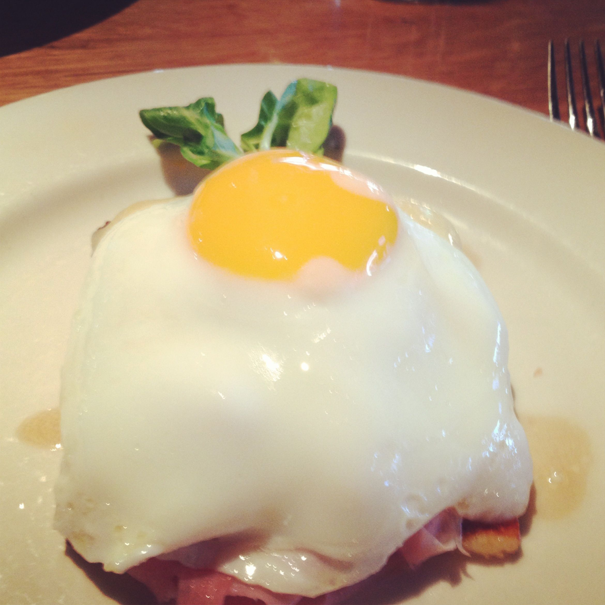 R+D kitchen brunch special- waffle, ham, cheese, sunnyside up egg ...