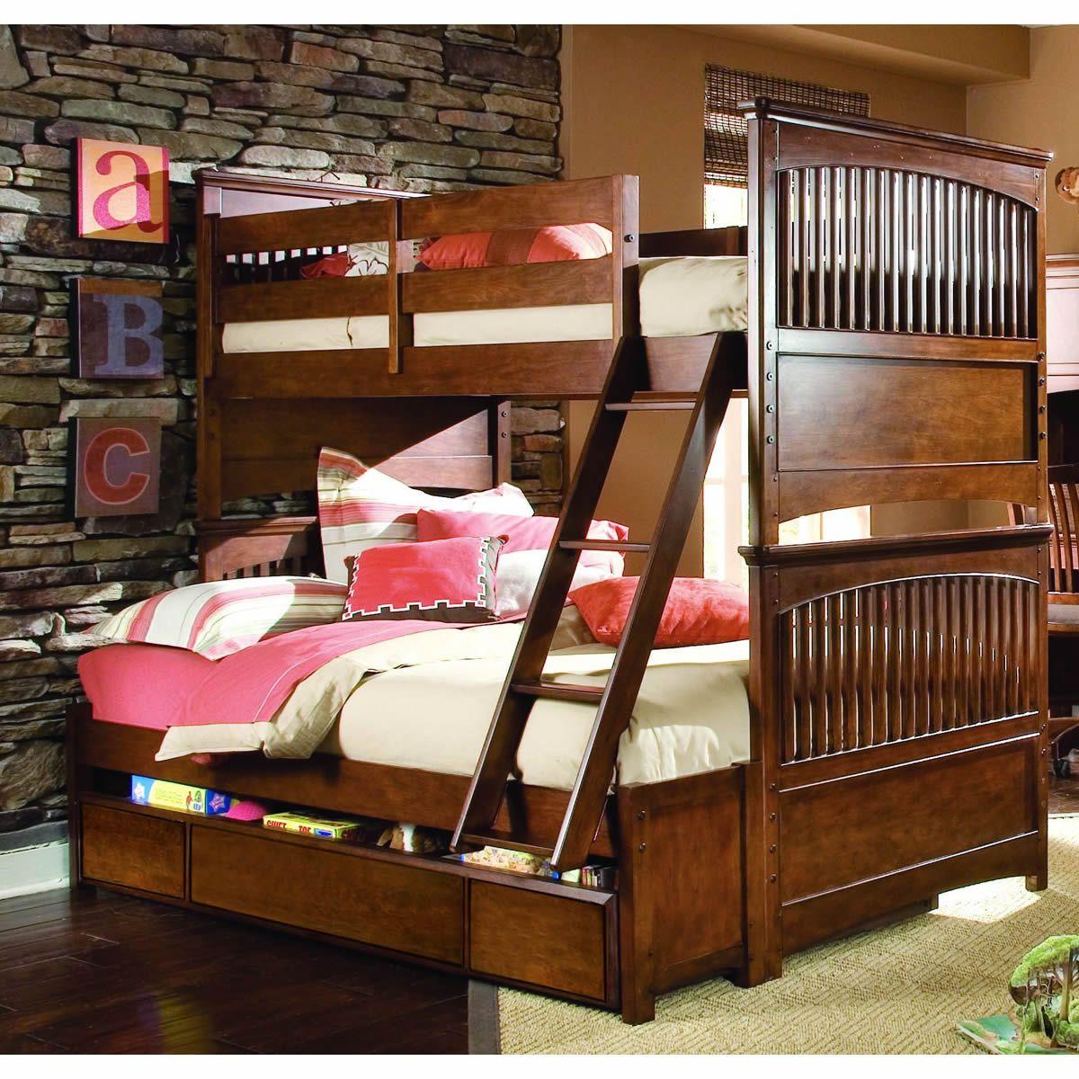 natural brown full over full bunk beds Camarotes en
