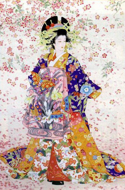 Los Kimonos De Haruyo Morita Arte Japones Impresiones Japonesas Produccion Artistica