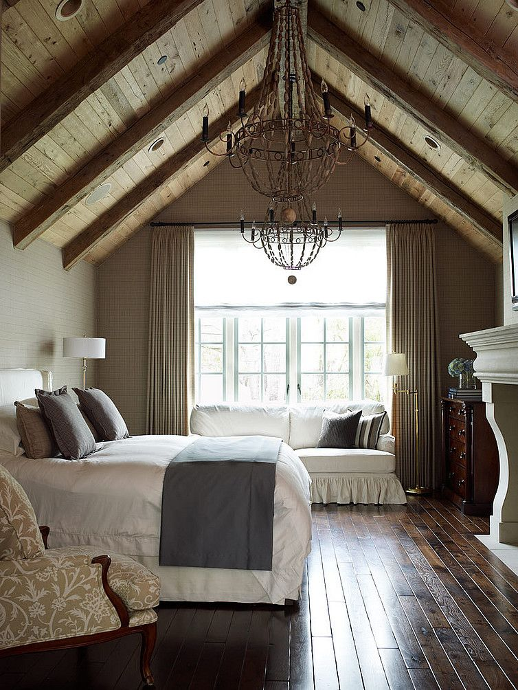 Amazing master bedroom: off, loft bedroom. dark hardwood floors AND exposed  beams. fireplace IN the loft bedroom. loft bedroom big enough to have a big  bed, ...