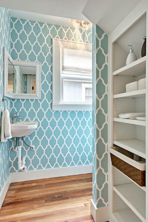 white & blue powder room; Farrow and Ball Tessella