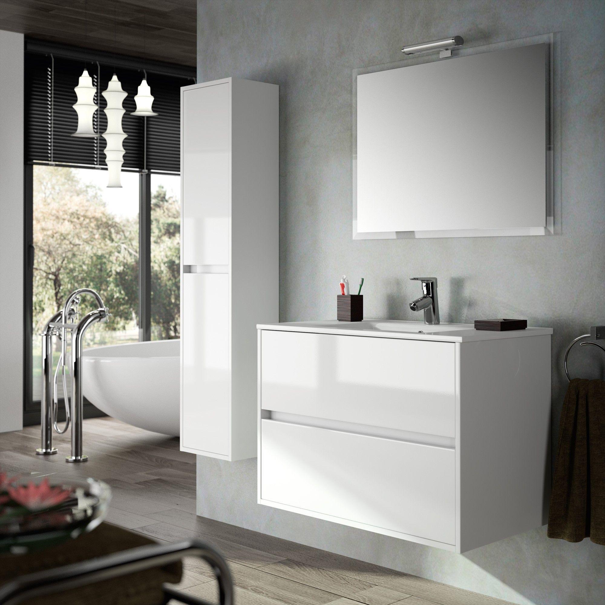 Ensemble meuble noja 1200 fond 45 et 2 tiroirs avec frein for Ensemble meuble vasque