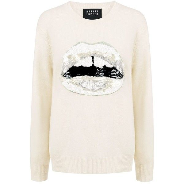 Markus Lupfer - White Lara Lip Sequin Natalie Sweater ($312) ❤ liked on Polyvore featuring tops, sweaters, ifchic, relaxed fit tops, lip print sweater, white sweater, white sequin top and denim top