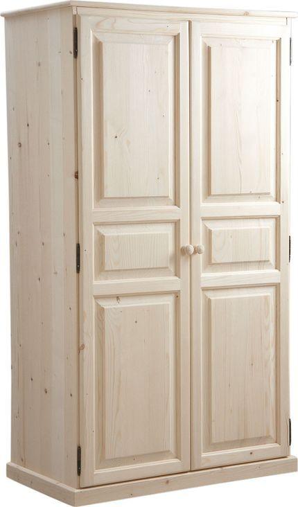 armoire 2 portes en bois brut 100x56x180cm sur jardindeco cette grande armoire bois brut offre un bel espace de rangement pour les vetements du foyer