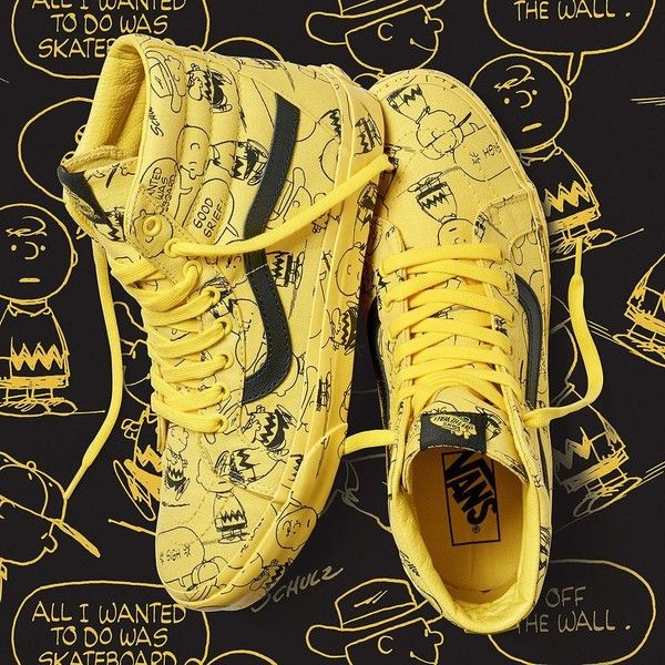 55f70ec14e Vans x Peanuts SK8-Hi Reissue ( 75) ❤ liked on Polyvore featuring men s  fashion and yellow