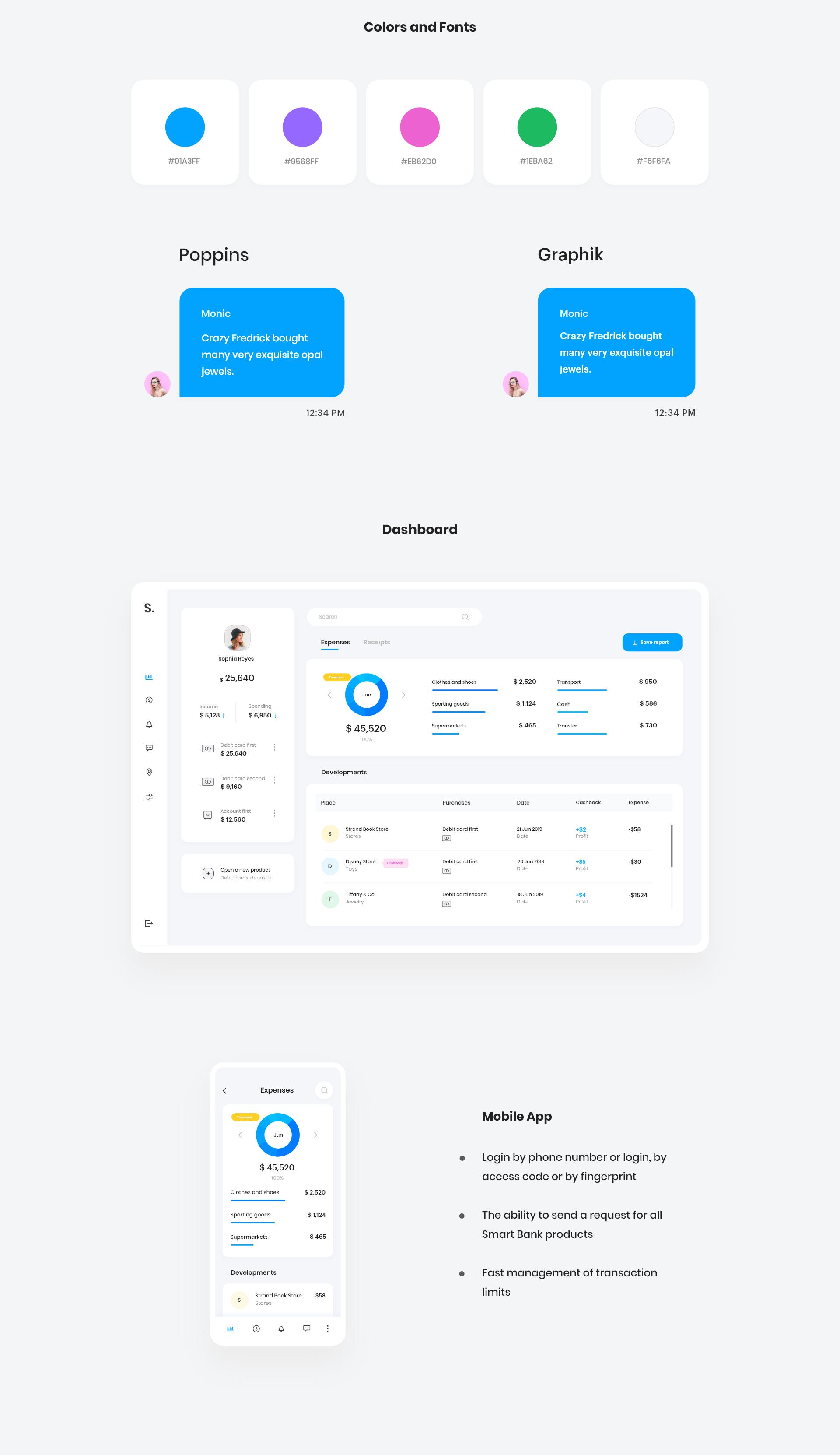 Smart Bank Dashboard on Behance App login, Interface