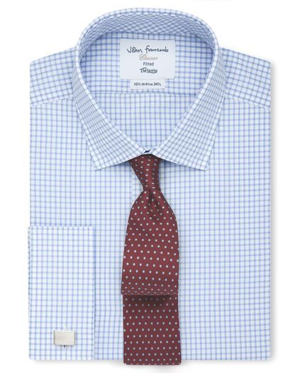 fae6c5d4af2b Fitted Light Blue Check Poplin Shirt | Fashion | Blue check, Shirts ...