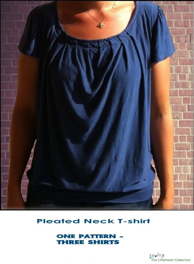 Free pattern: Pleated neck t-shirt | Nähen, Oberteile und Erwachsene