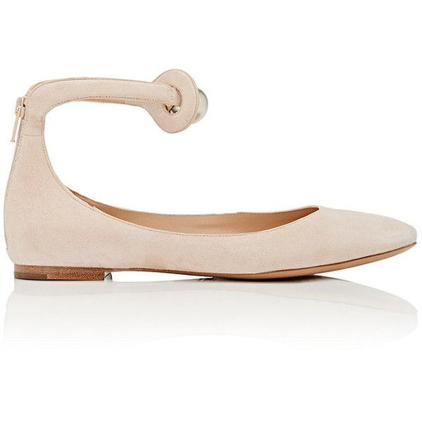 Chloé Women's Ankle-Strap Flats (3 990 SEK) ❤ liked on Polyvore featuring shoes, flats, cream, cream flats, strappy shoes, strappy flats, strap shoes and round toe flats