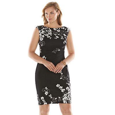 6db7c1ece95b7 Chaps Floral Empire Dress - Women s Plus Size