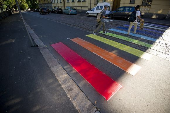 The crossing outside the Russian embassy was painted in rainbow colours on Friday night. Image: Jarno Mela / Lehtikuva
