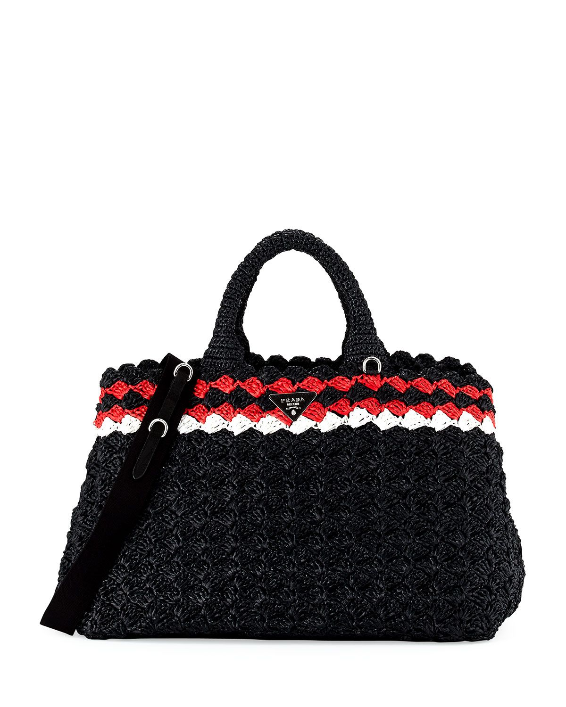 ab748da9c9 Prada Crocheted Raffia Top-Handle Bag w Strap