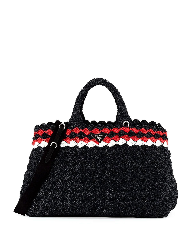 2da75d103917 Prada Crocheted Raffia Top-Handle Bag w/Strap | كروشيه بالباترون في ...