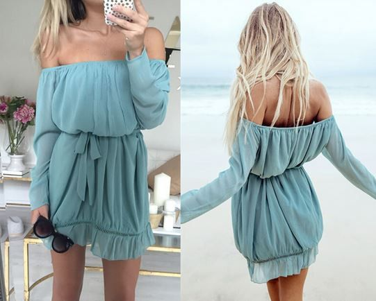 Off-the-Shoulder Ocean Blue Dress