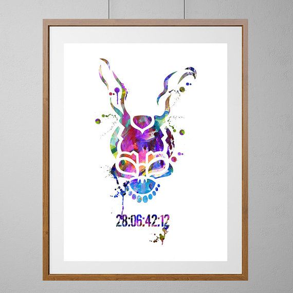Donnie Darko Frank The Rabbitt Watercolor Print Wall Decor Donnie