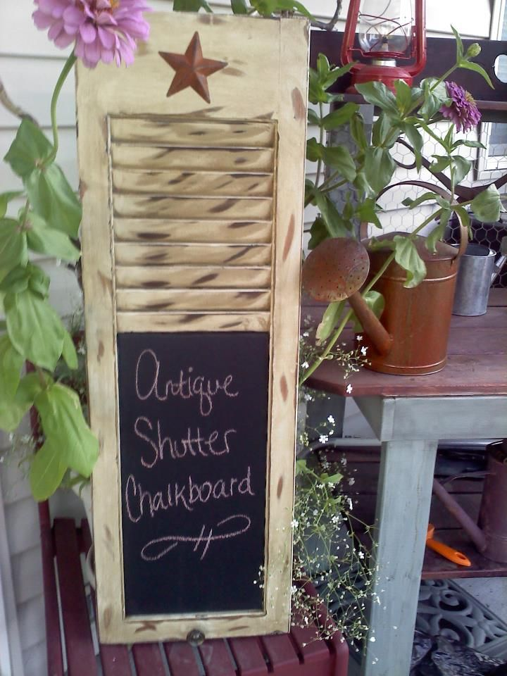 Antique Wood Shutter Chalkboard By Country Crow Creations