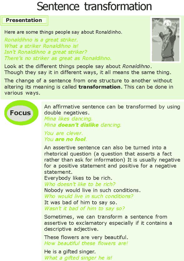 english grammar sentence transformation exercises