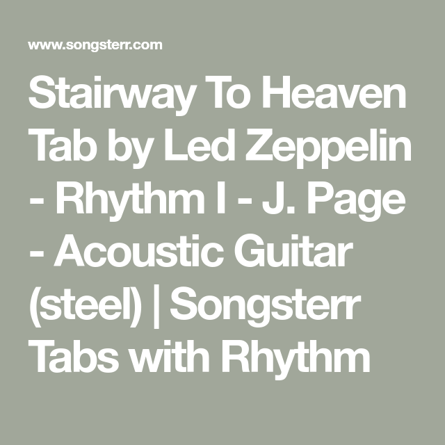 Stairway To Heaven Tab By Led Zeppelin Rhythm I J Page