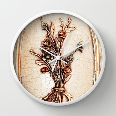 Vintage Flowers Wall Clock by Christine baessler - $30.00