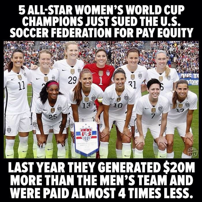Equal Pay For Equal Work Us Women S National Soccer Team World Cup Champions Womens Soccer