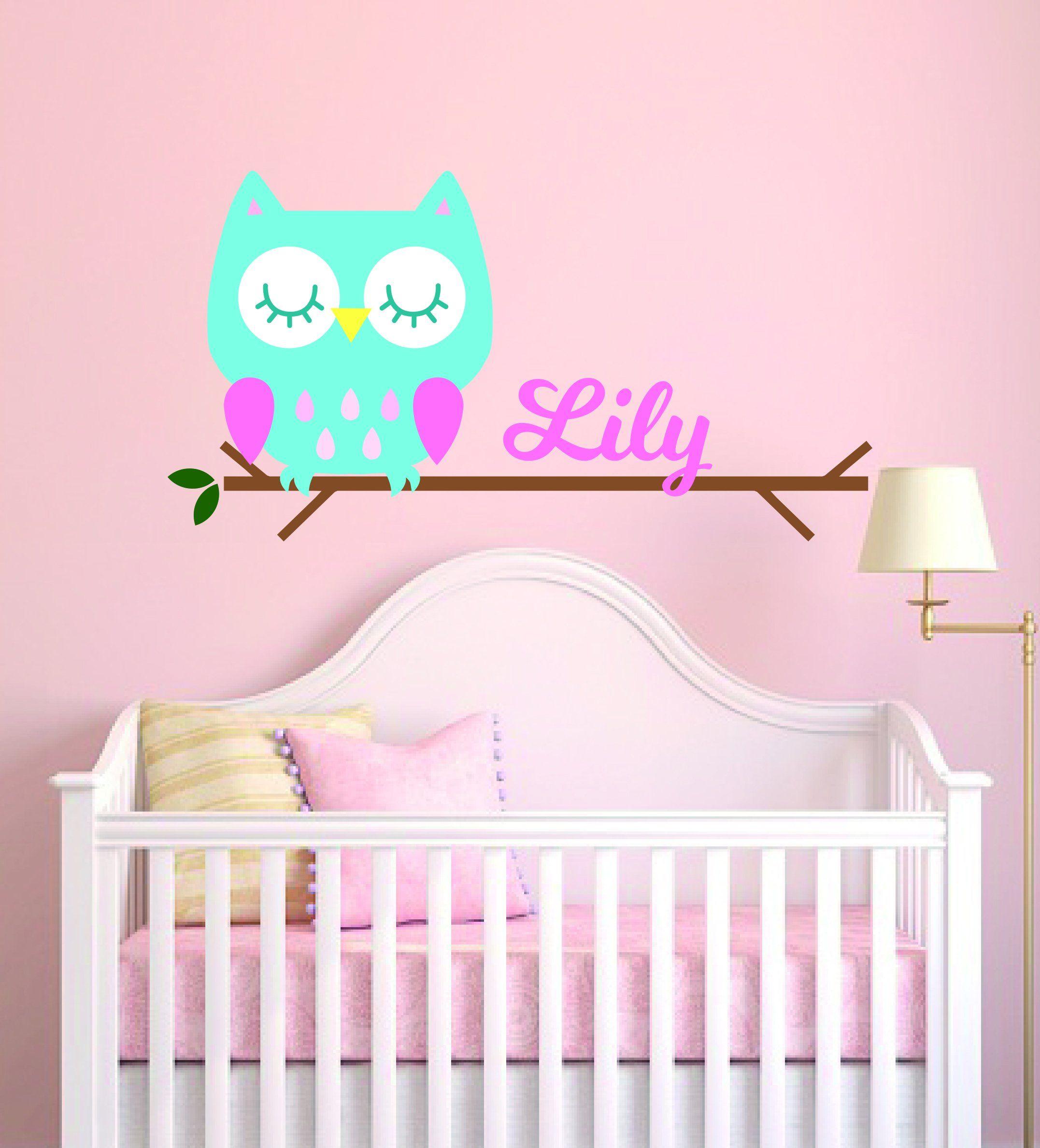 Cute Owl Wall Sticker Custom Name Childrens Nursery Great For Girls Bedroom