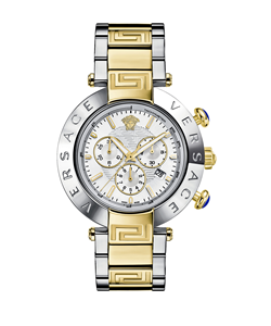 Versace Versace:Reve Chrono 46mm White Dial Twotone Bracelet Watch