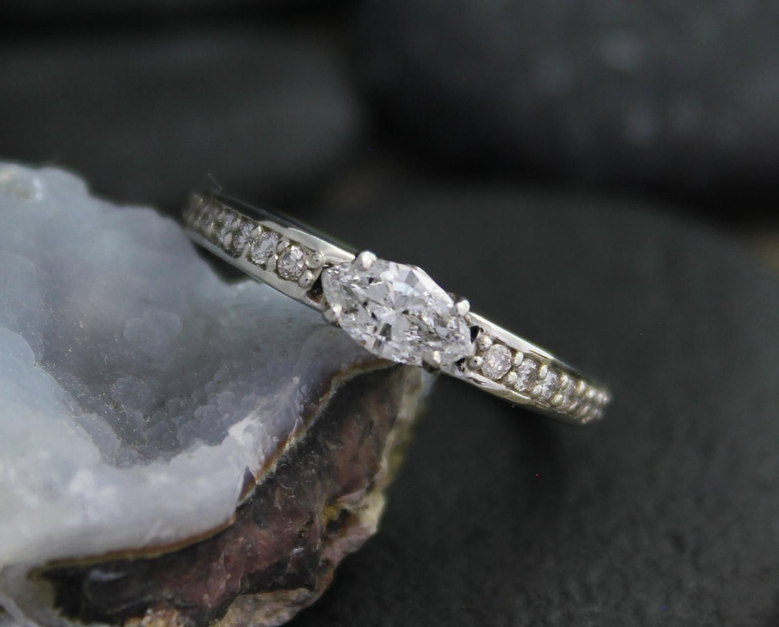 14k white gold marquise diamond ring east west marquise