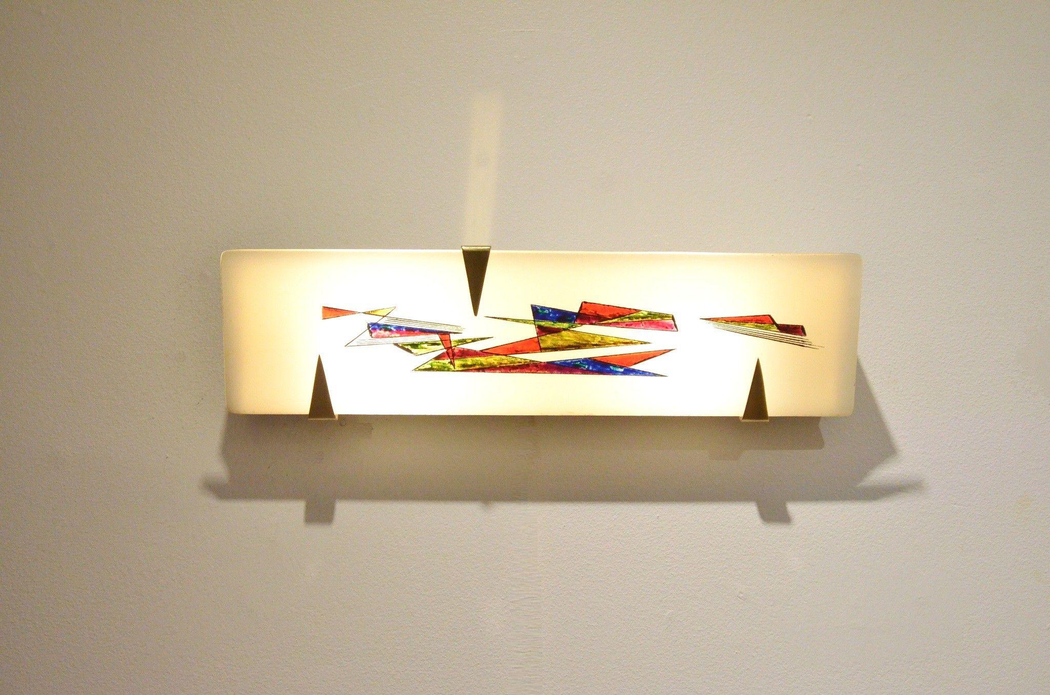 Applique moderniste verre & peinture à la main geométriques 1950s