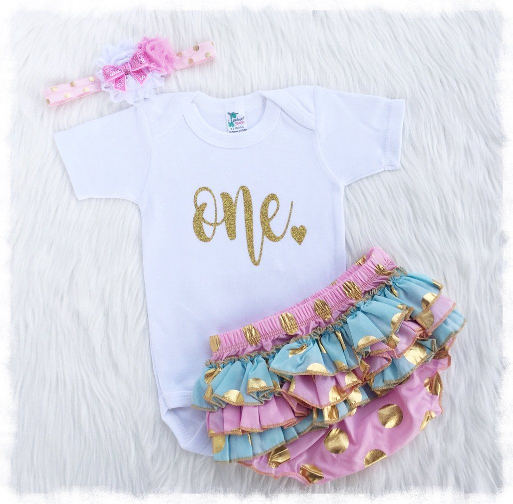 ec98089bad37a Designer Baby Girl Clothes, Pink And Gold First Birthday Outfit - Weebie  Cuties