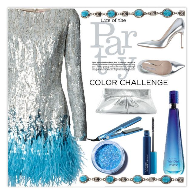 """Life of the party"" by mood-chic ❤ liked on Polyvore featuring Davidoff, Roberto Festa, Valentino, Lauren Merkin, Lime Crime, MAC Cosmetics, BaByliss and blueandsilver"