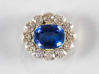 Sapphire and diamond brooch given to Queen Victoria by Prince Albert   the day before their wedding, 1840. You see it occasionally on Queen Elizabeth.  [The Royal Collection Her Majesty Queen Elizabeth II]