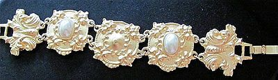 Pearl Repousse Bracelet French Couture Goldtone Ornate Antique Vintage Art Deco