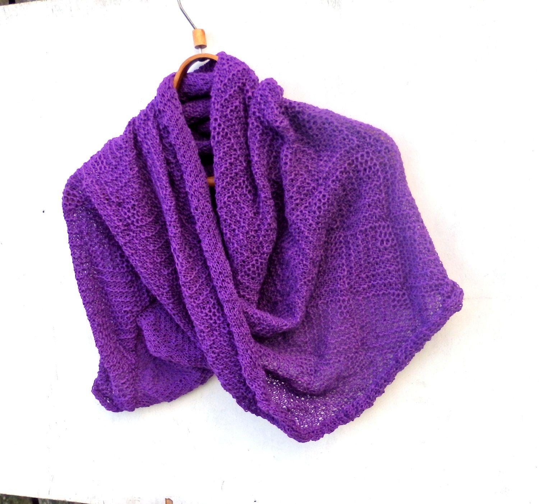 knitted infinity scarf, knit purple circle shawl, knitting lace wrap ...