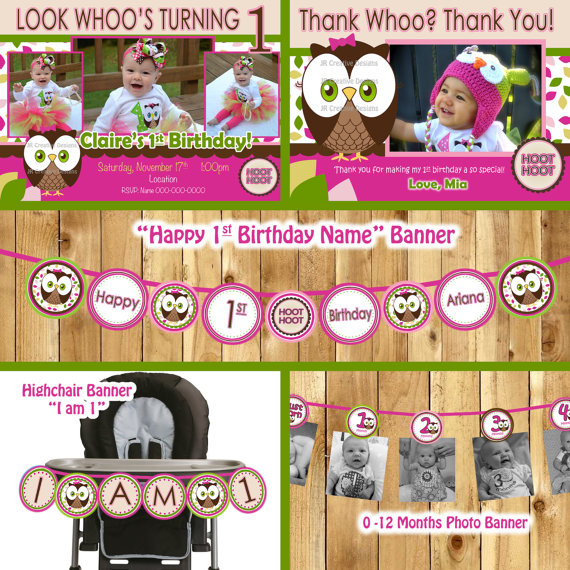 Owl Birthday Party Package Look Whoos turning by JRCreativeDesigns