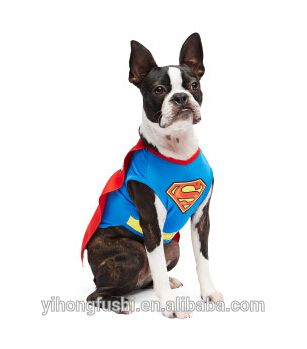 Dog Superman Clothes With Mantle Cotton Dog Shirt Nice