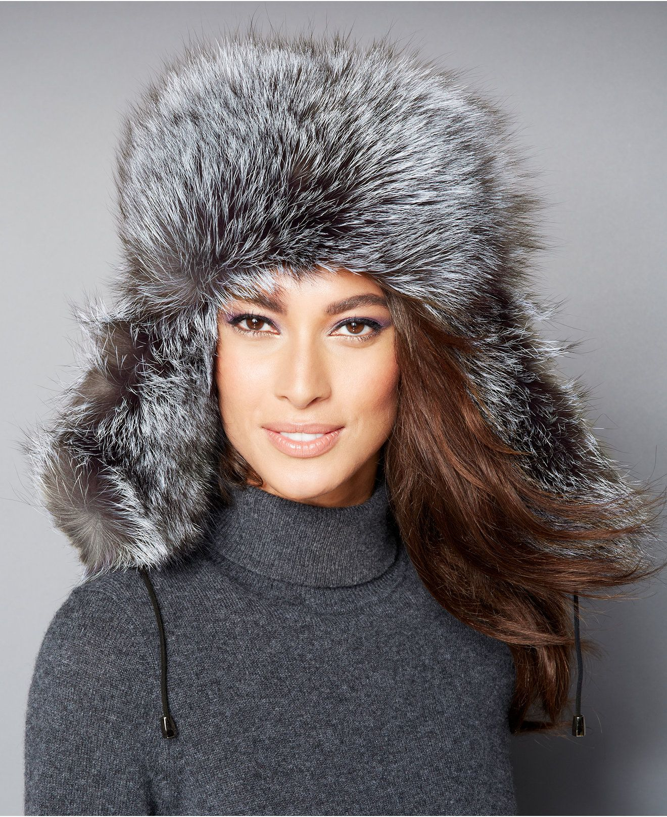 The Fur Vault Black & Silver Fox Fur Trapper Hat - The Fur Vault - Women - Macy's